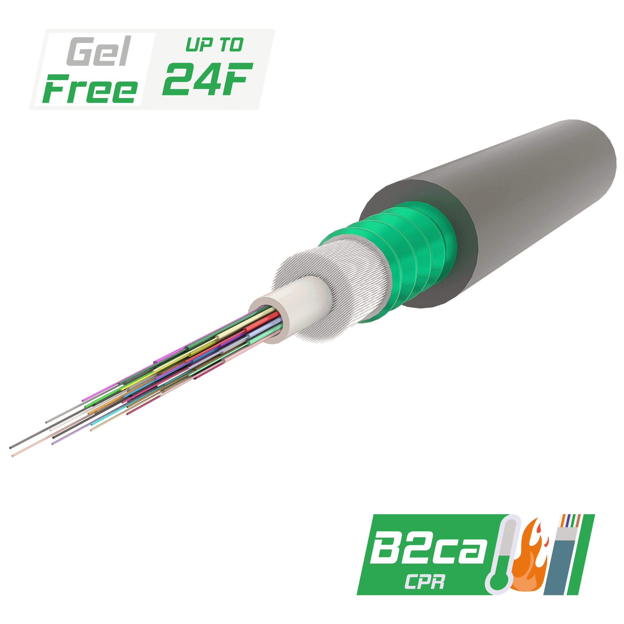Samm Teknoloji - Çelik Zırhlı Merkezi Tüplü Fiber Optik Kablo | Gel-Free | A-DQ(ZN)(SR)H | CPR:B2ca | Up to 24F | 2000 metre