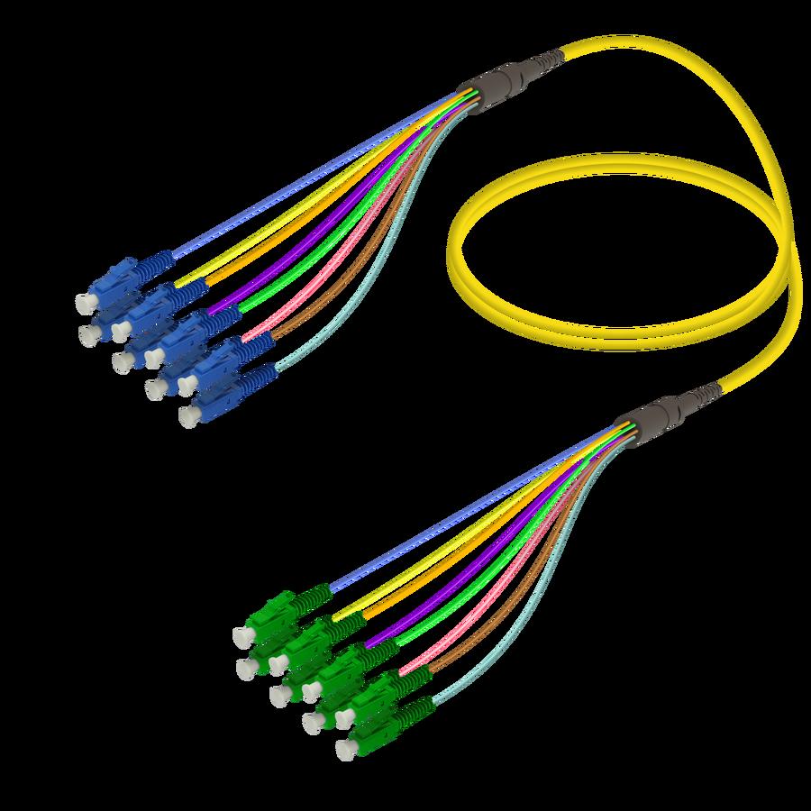 Samm Teknoloji - LC/UPC-LC/APC | 8 Fiber Fanout | Single Mode G657.A2 | 3.0/0.9mm