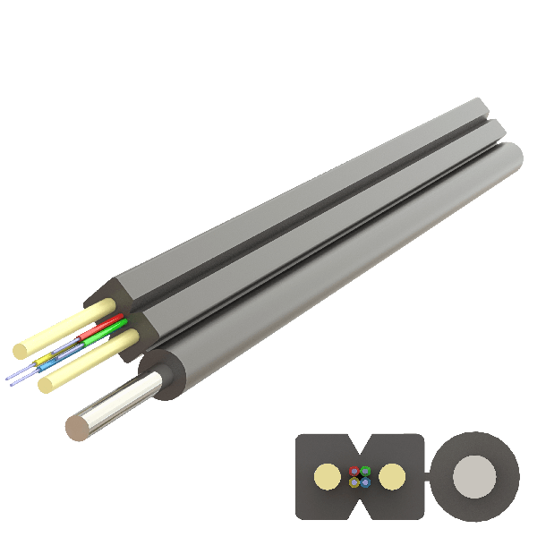 Samm Teknoloji - Messenger FRP Drop Cable 2.0x5.2mm | A-N(ZM)H-SH | Up to 4F | 1000 meters