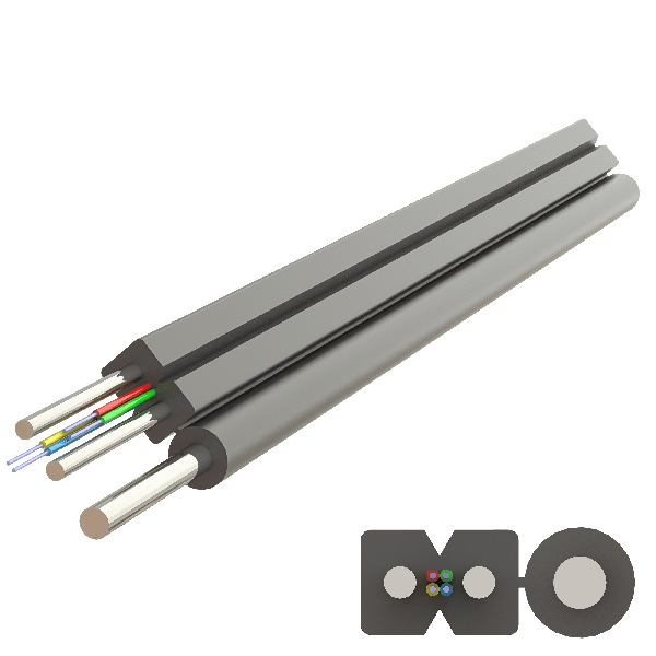 Samm Teknoloji - Messenger Steel Drop Cable 2.0x5.2mm | A-N(ZM)H-SH | Up to 4F | 1000 meters