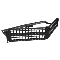 - Empty Modular Angled Patch Panel | 2U CAT-6A | 48 Ports