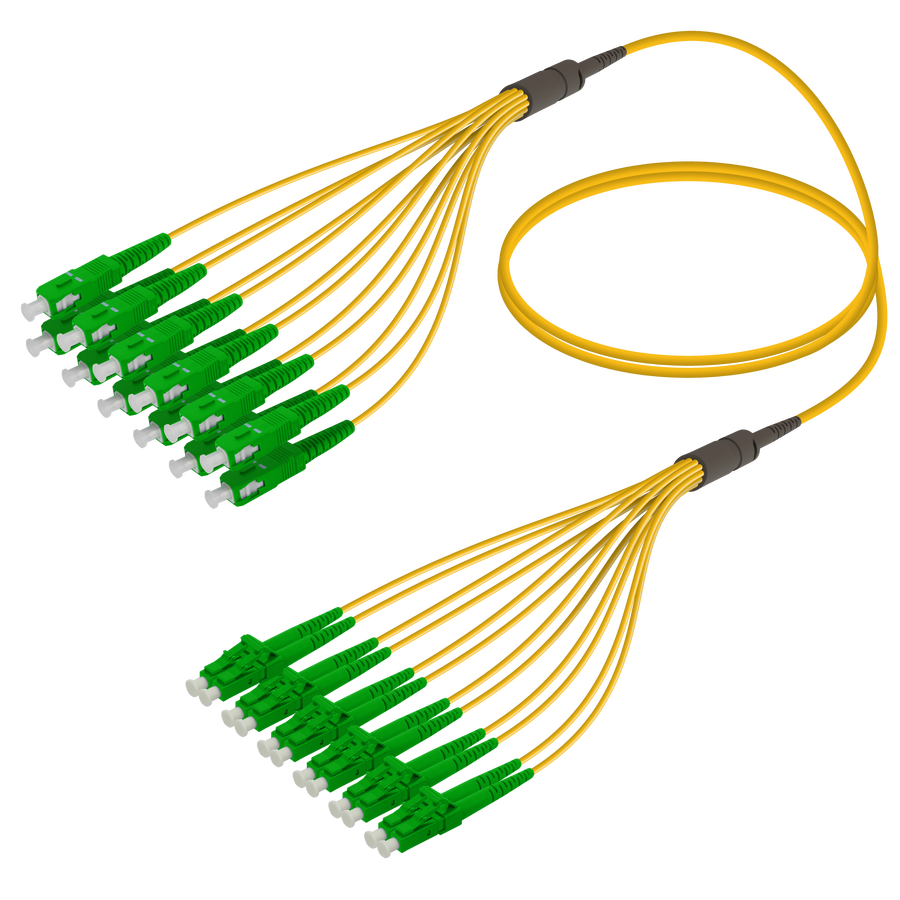 SC/APC-LC/APC | 12 Fibers Fanout | Single Mode G657.A2 | 3.0/1.8mm