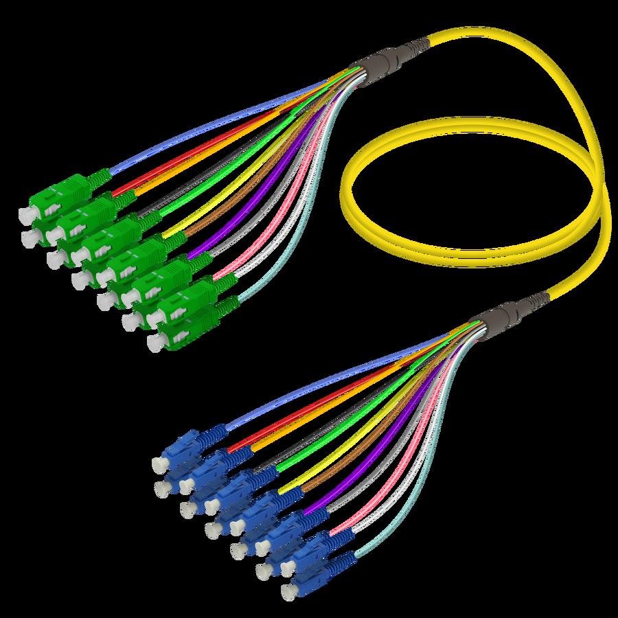 SC/APC-LC/UPC | 12 Fibers Fanout | Single Mode G657.A2 | 3.0/0.9mm