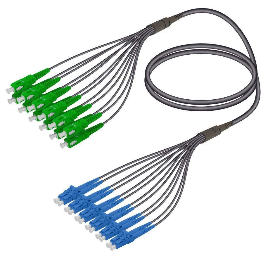 Samm Teknoloji - SC/APC-LC/UPC | 12 Fibers Universal Fanout | Single Mode G657.A2 | 4.8/1.8mm