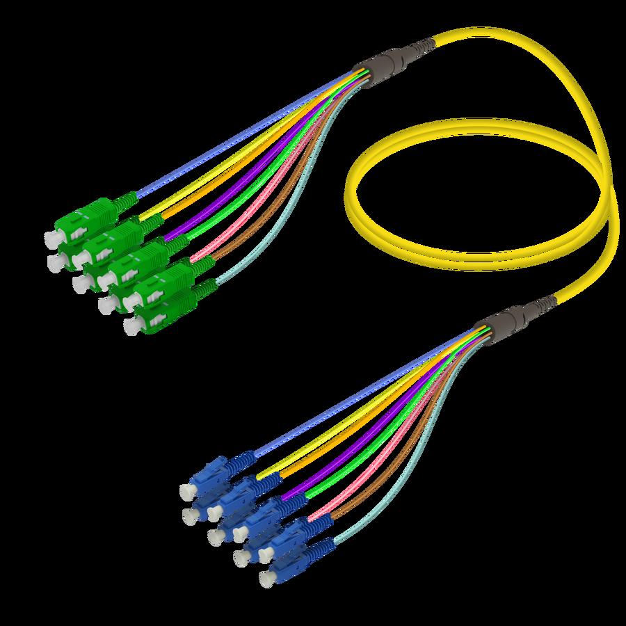 Samm Teknoloji - SC/APC-LC/UPC | 8 Fiber Fanout | Single Mode G657.A2 | 3.0/0.9mm