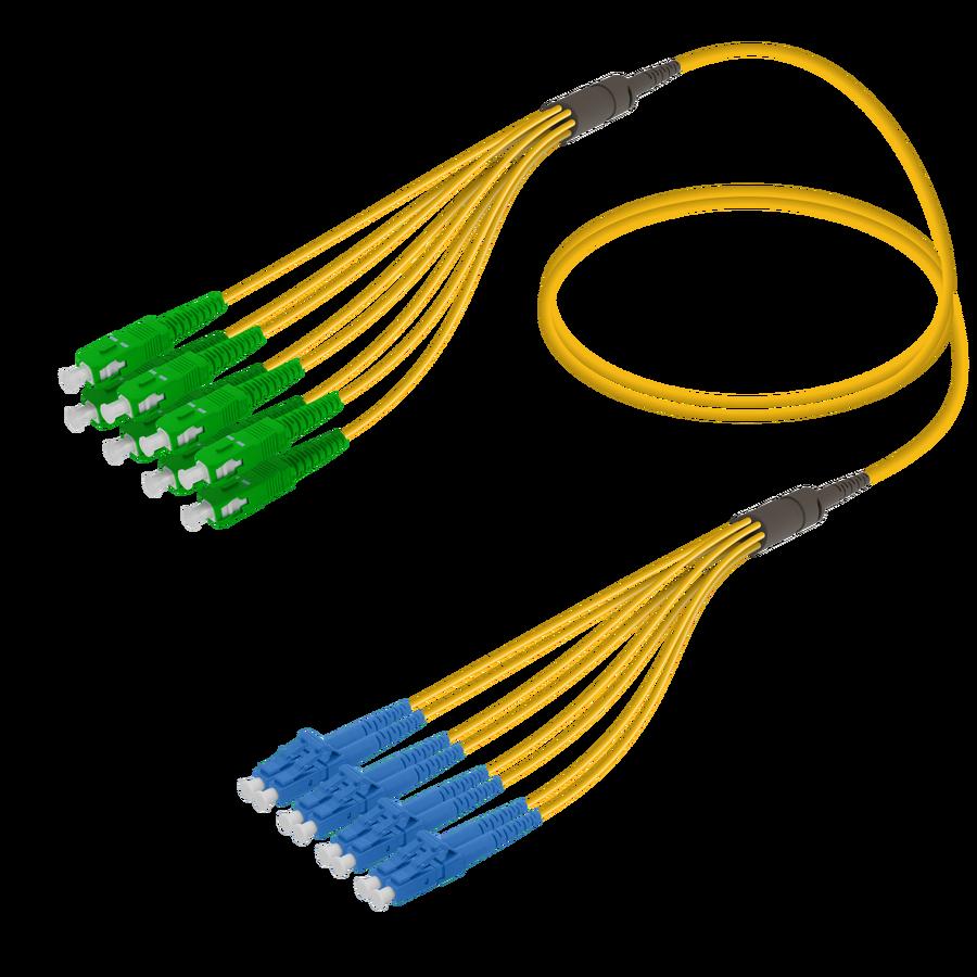 Samm Teknoloji - SC/APC-LC/UPC | 8 Fiber Fanout | Single Mode G657.A2 | 3.0/1.8mm