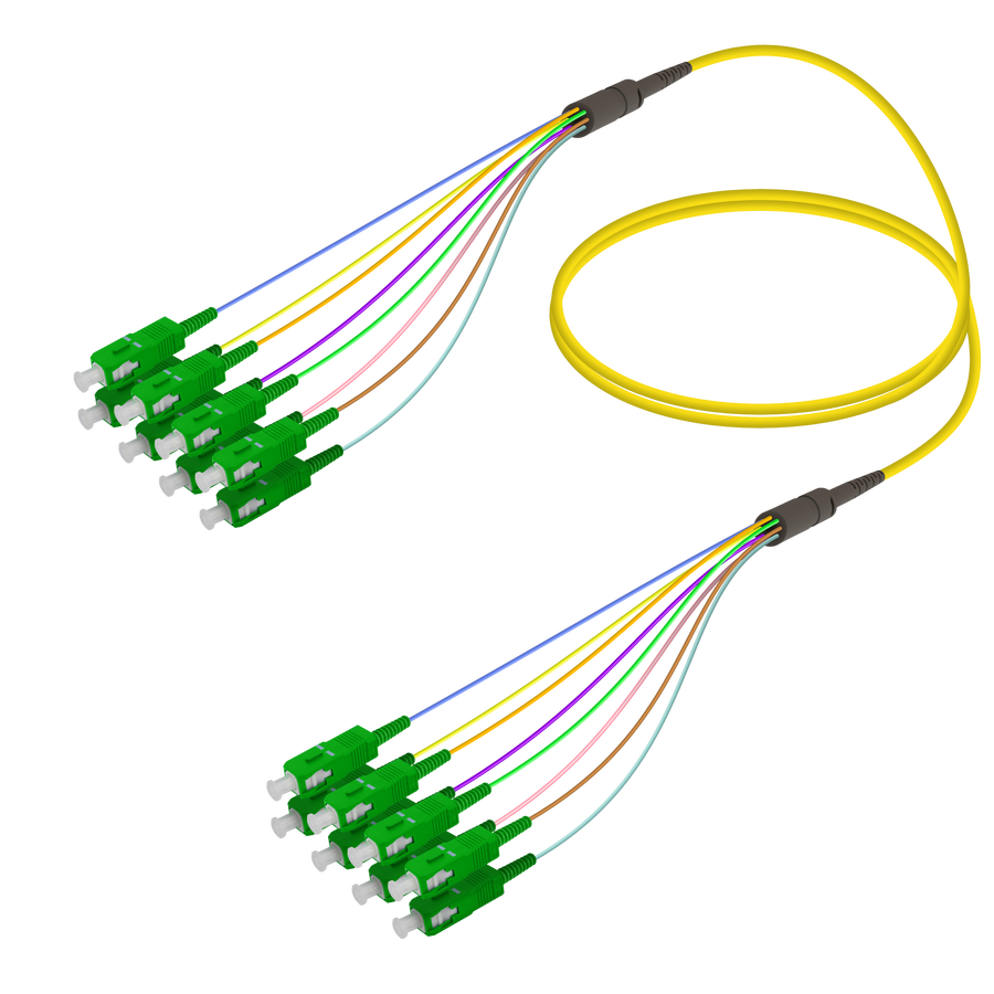 Samm Teknoloji - SC/APC-SC/APC | 8 Fiber Fanout | Single Mode G657.A2 | 3.0/0.9mm