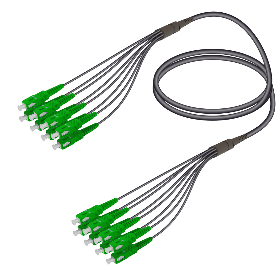 Samm Teknoloji - SC/APC-SC/APC | 8 Fiber Universal Fanout | Single Mode G657.A2 | 4.8/1.8mm