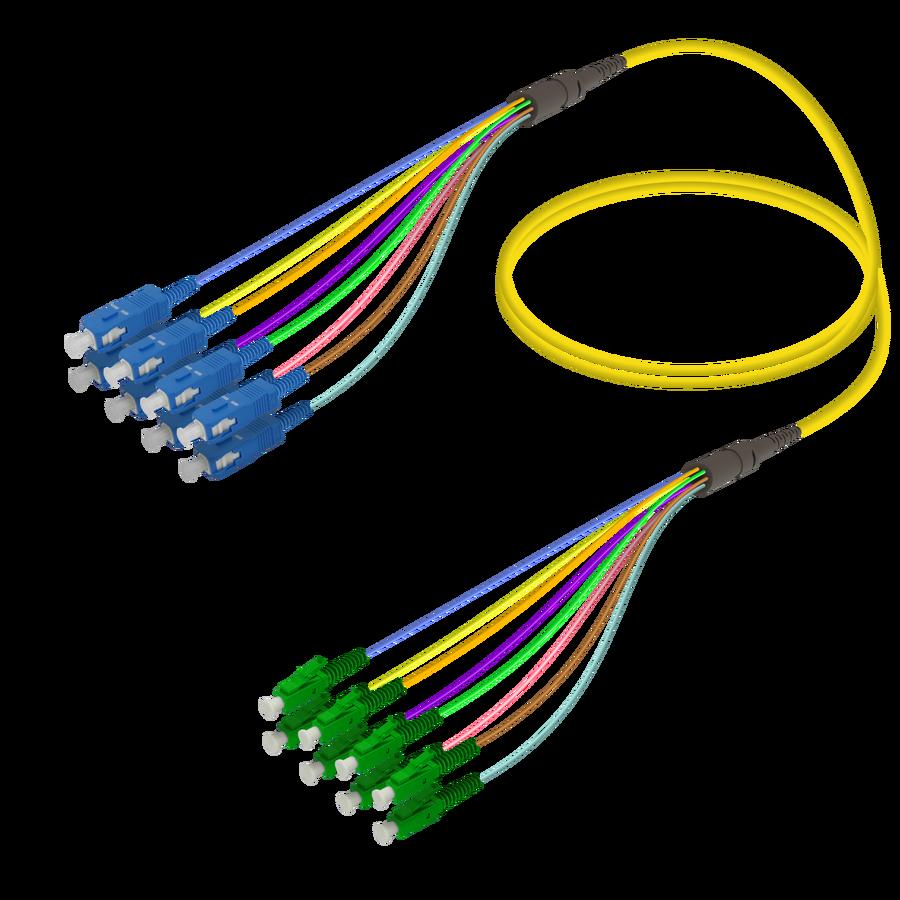 Samm Teknoloji - SC/UPC-LC/APC | 8 Fiber Fanout | Single Mode G657.A2 | 3.0/0.9mm