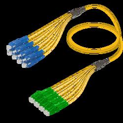 Samm Teknoloji - SC/UPC-LC/APC | 8 Fibers Fanout | Single Mode G657.A2 | 3.0/1.8mm