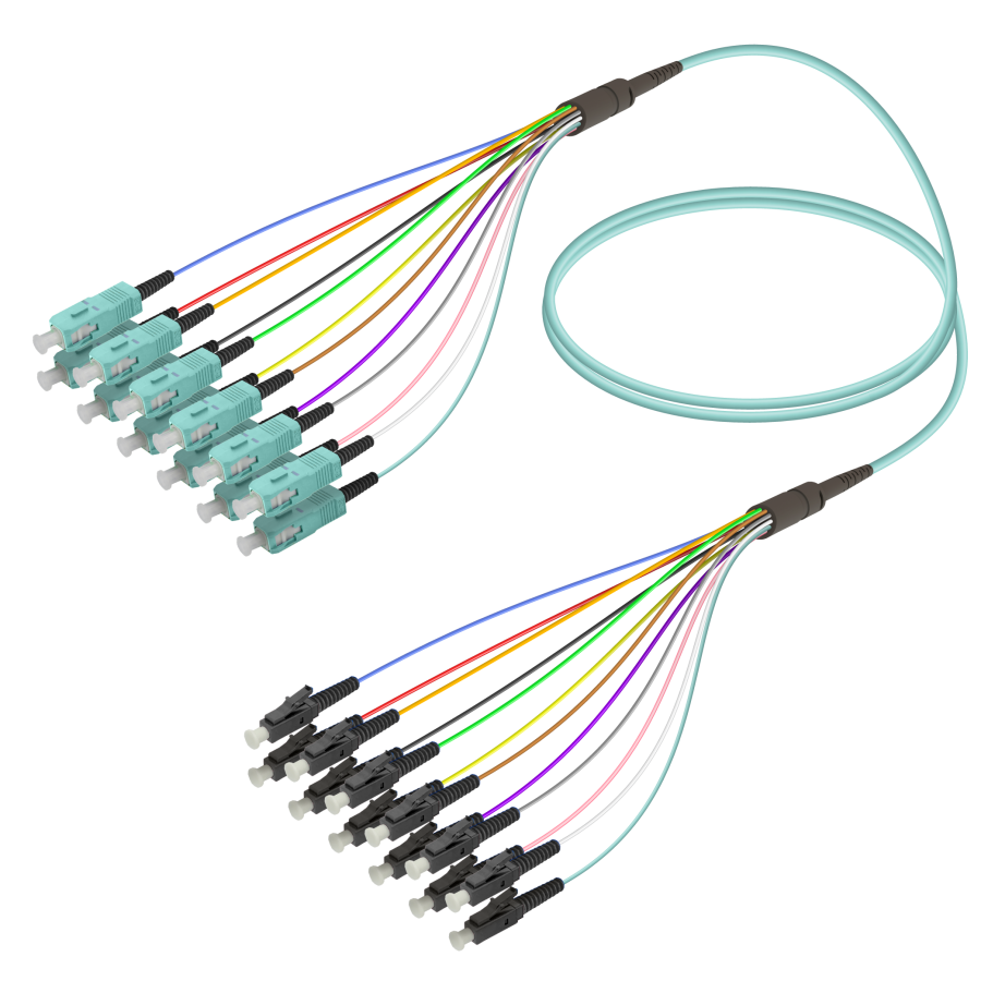SC/UPC-LC/UPC | 12 Fibers Fanout | Multi Mode G651.OM3 | 3.0/0.9mm