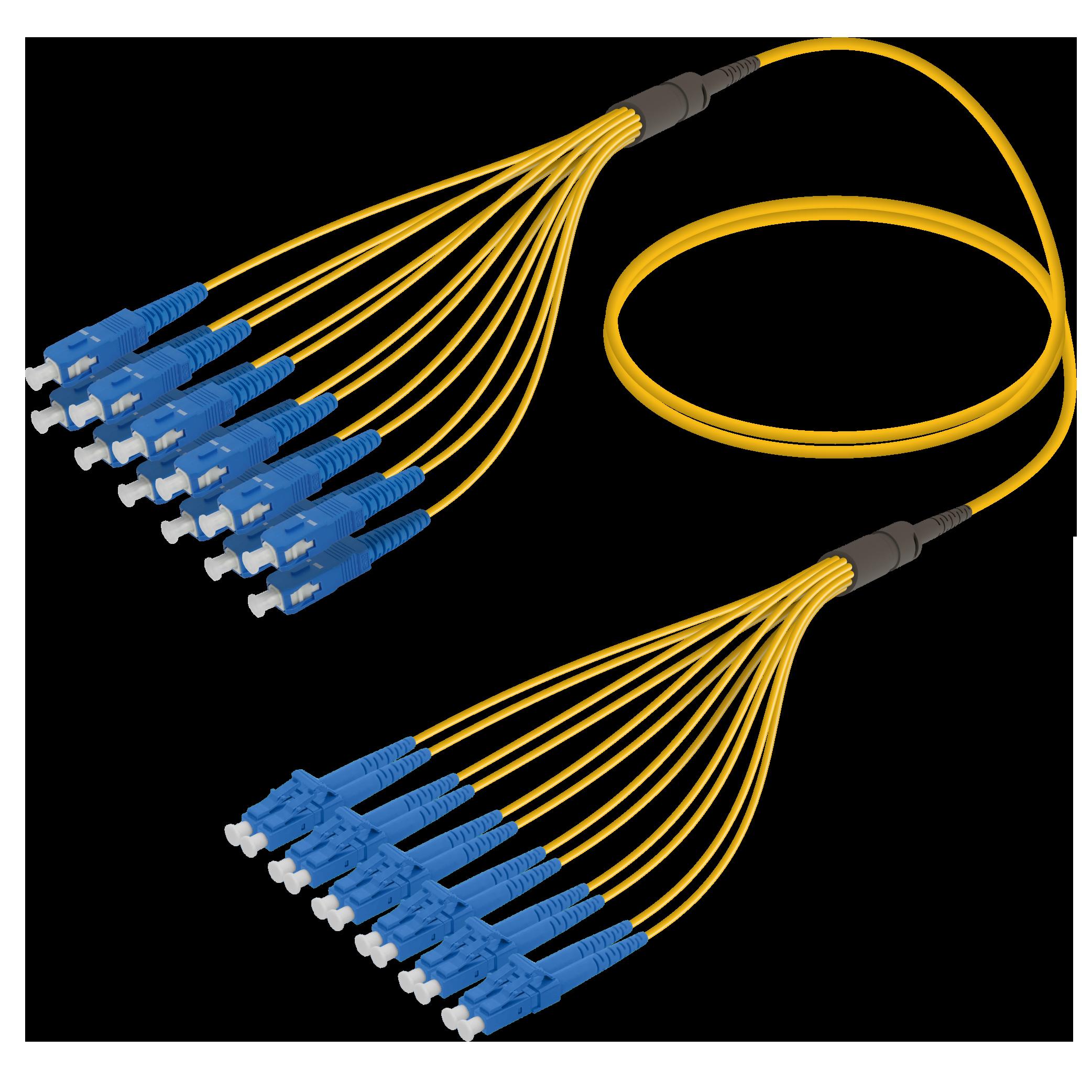 SC/UPC-LC/UPC | 12 Fibers Fanout | Single Mode G657.A2 | 3.0/1.8mm