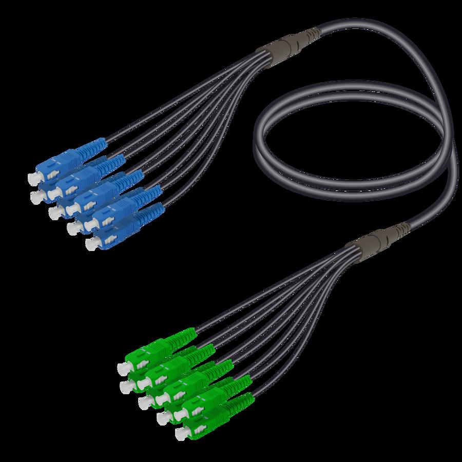 Samm Teknoloji - SC/UPC-SC/APC | 8 Fibers Universal Fanout | Single Mode G657.A2 | 4.8/1.8mm